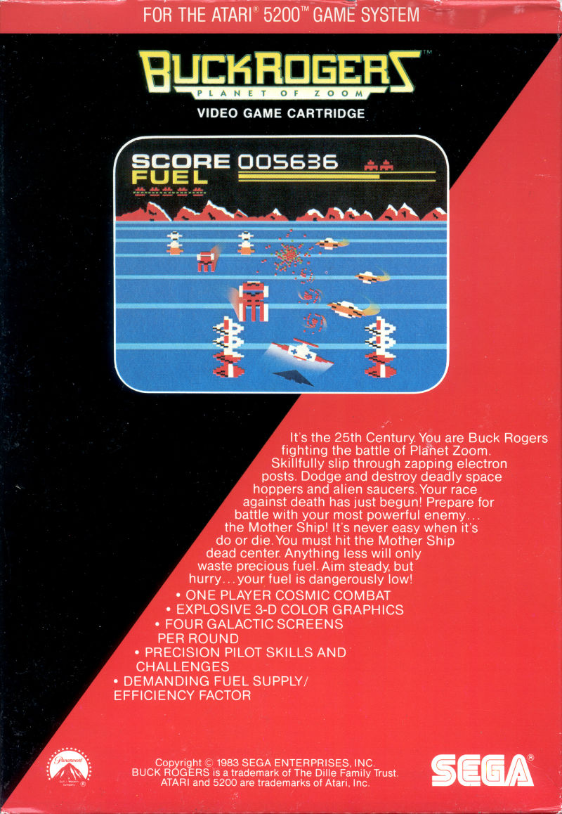 Buck Rogers: Planet of Zoom Atari 5200 Back Cover