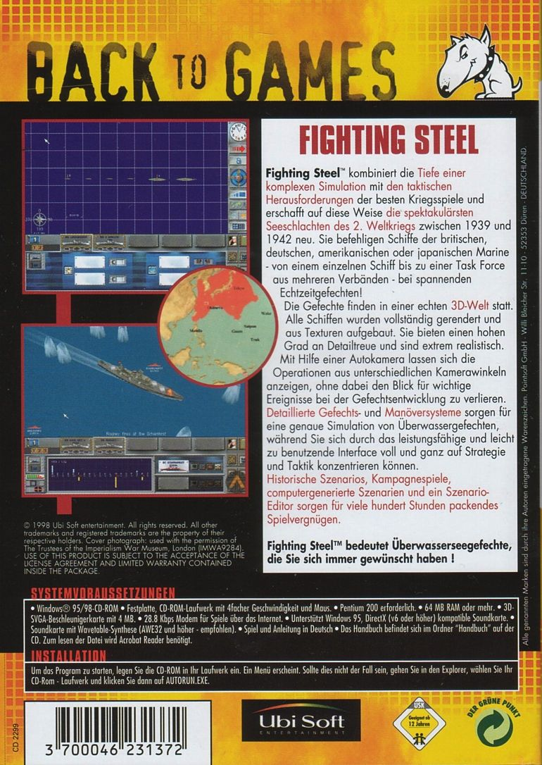 Fighting Steel: World War II Surface Combat 1939-1942 Windows Back Cover