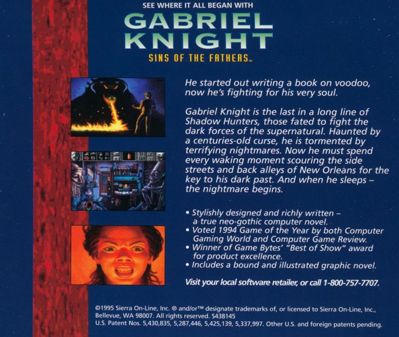 The Beast Within: A Gabriel Knight Mystery DOS Other Jewel Case - Back