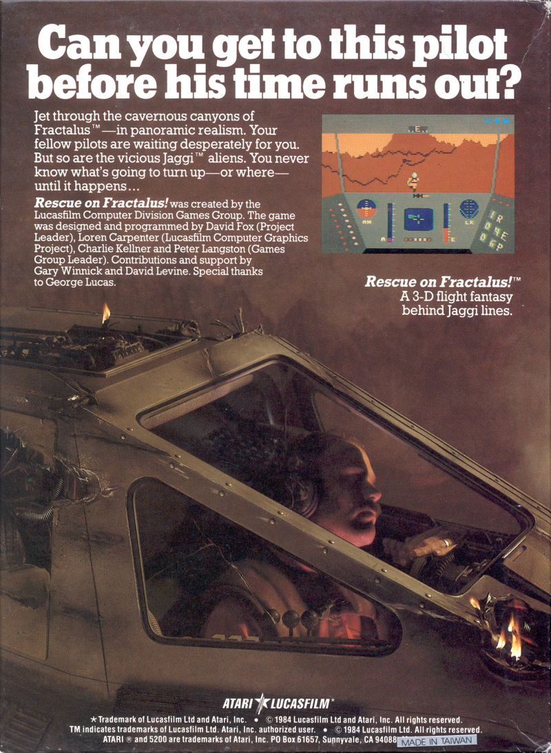 Rescue on Fractalus! Atari 5200 Back Cover