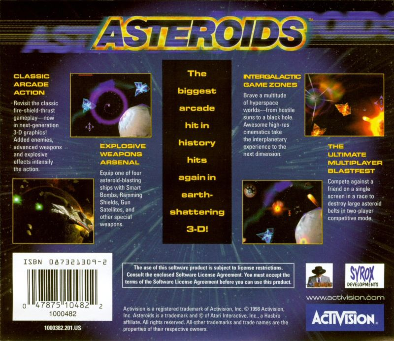 Asteroids Windows Other Jewel Case - Back
