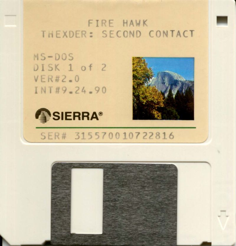 """Fire Hawk: Thexder - The Second Contact DOS Media 3.5"""" Disk 1/2 (alternate color)"""