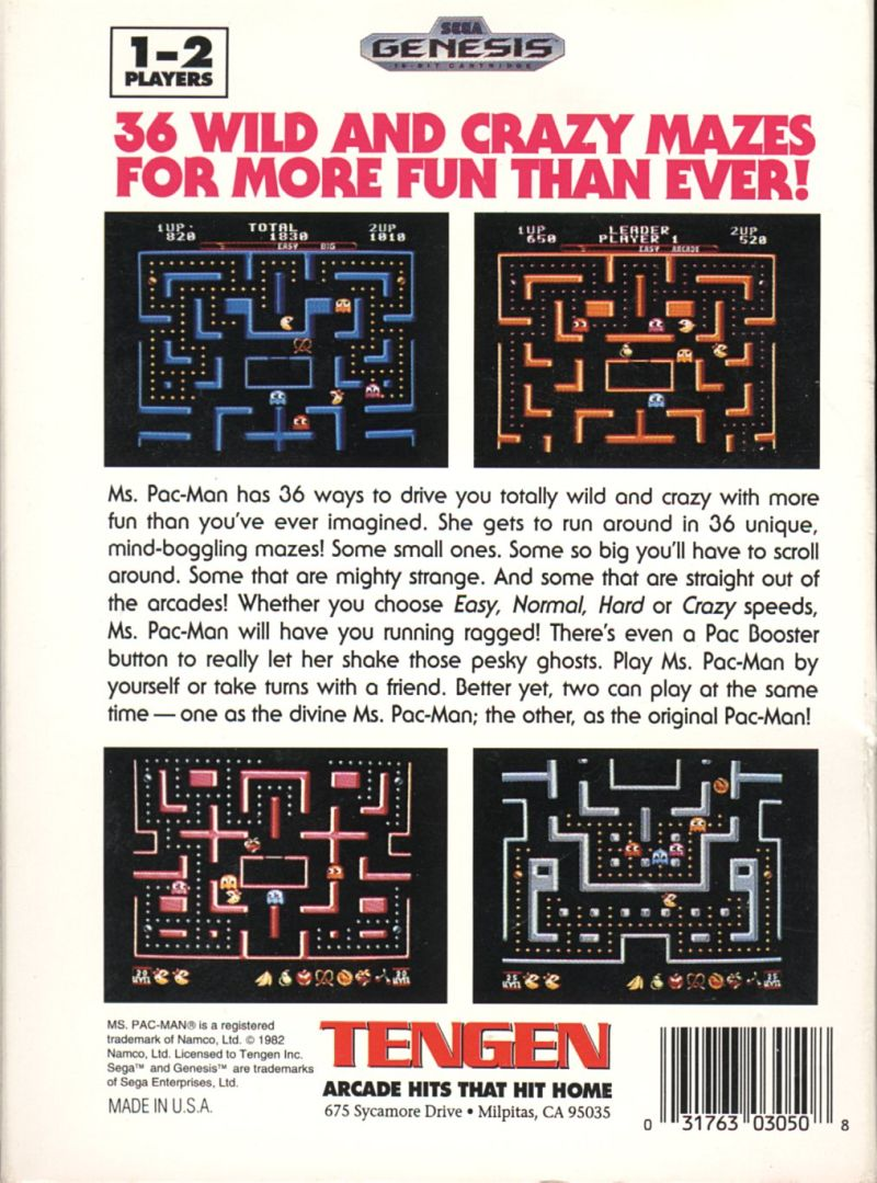 Ms. Pac-Man Genesis Back Cover