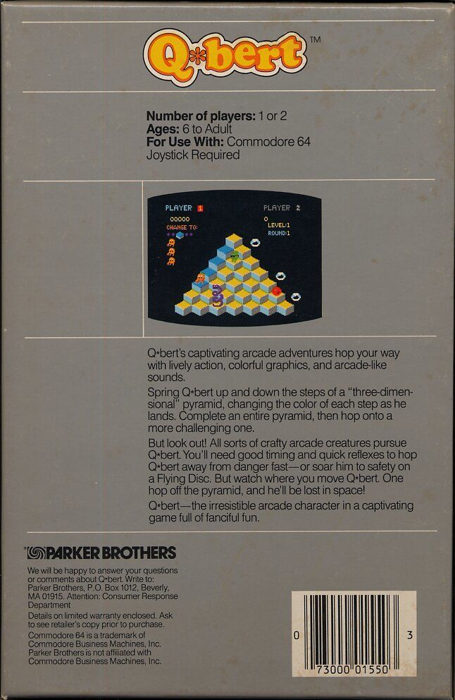 Q*bert Commodore 64 Back Cover