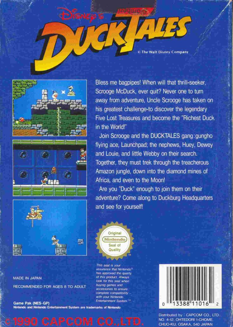 Disney's DuckTales NES Back Cover