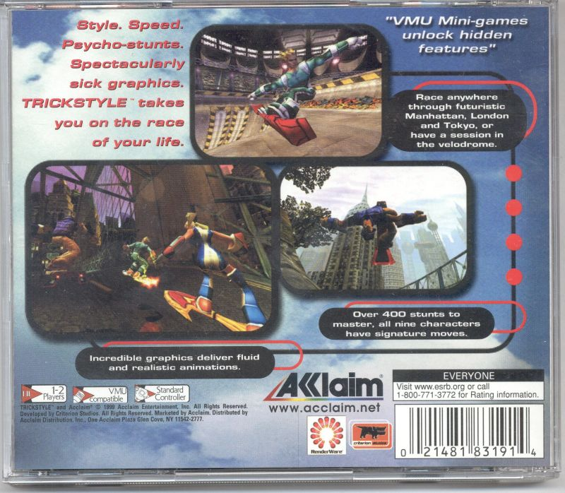 Trickstyle Dreamcast Back Cover