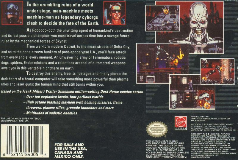 RoboCop Versus the Terminator SNES Back Cover