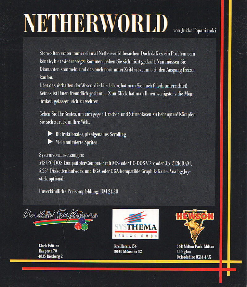 Netherworld DOS Back Cover