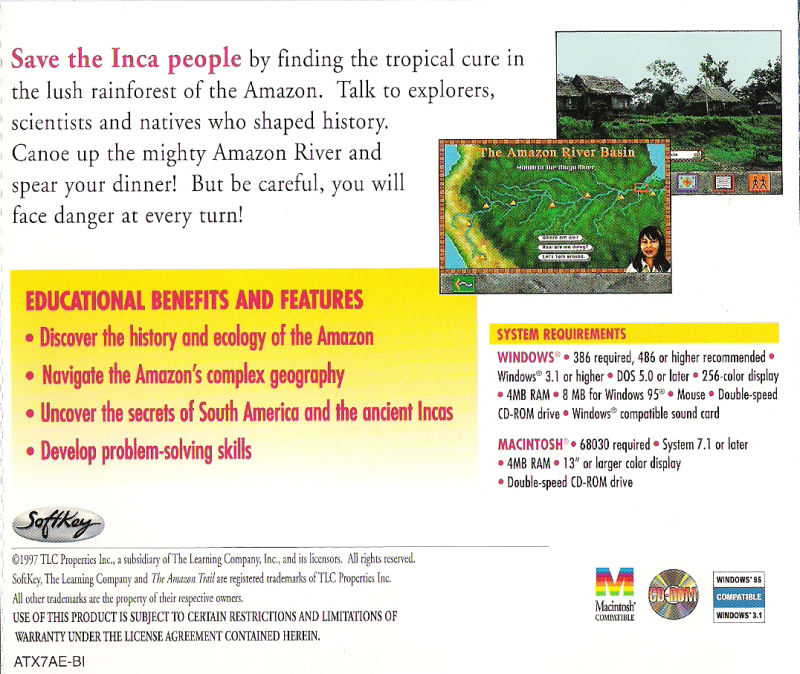 The Amazon Trail Macintosh Back Cover