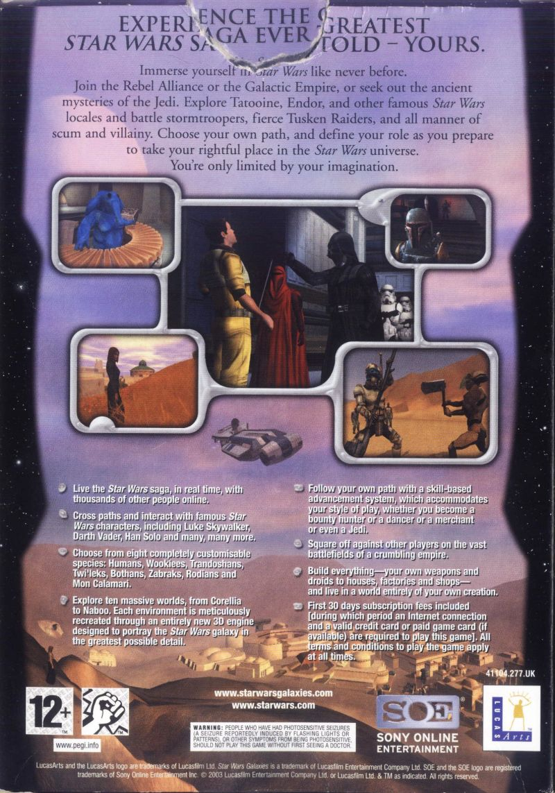 Star Wars: Galaxies - An Empire Divided Windows Back Cover