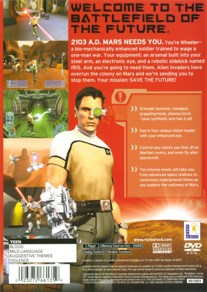RTX: Red Rock PlayStation 2 Back Cover
