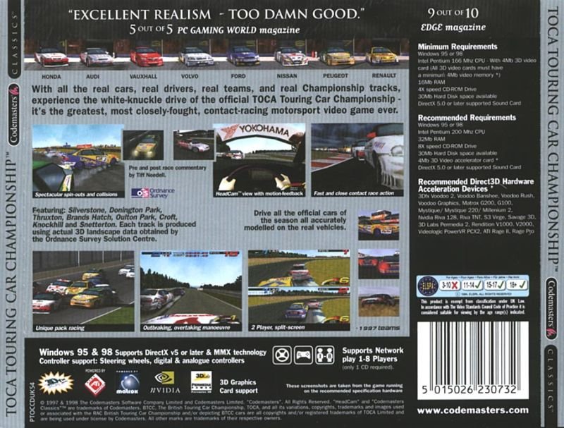 TOCA Touring Car Championship Windows Other Jewel Case - Back