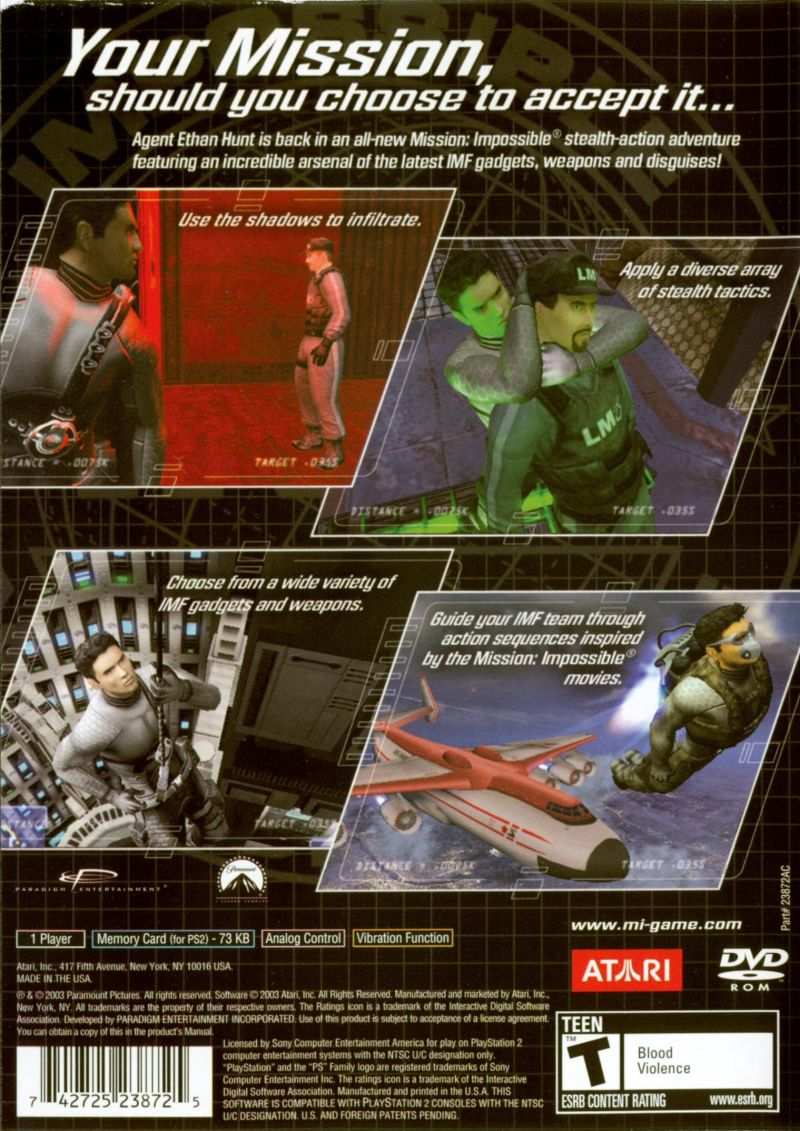 Mission: Impossible - Operation Surma PlayStation 2 Back Cover
