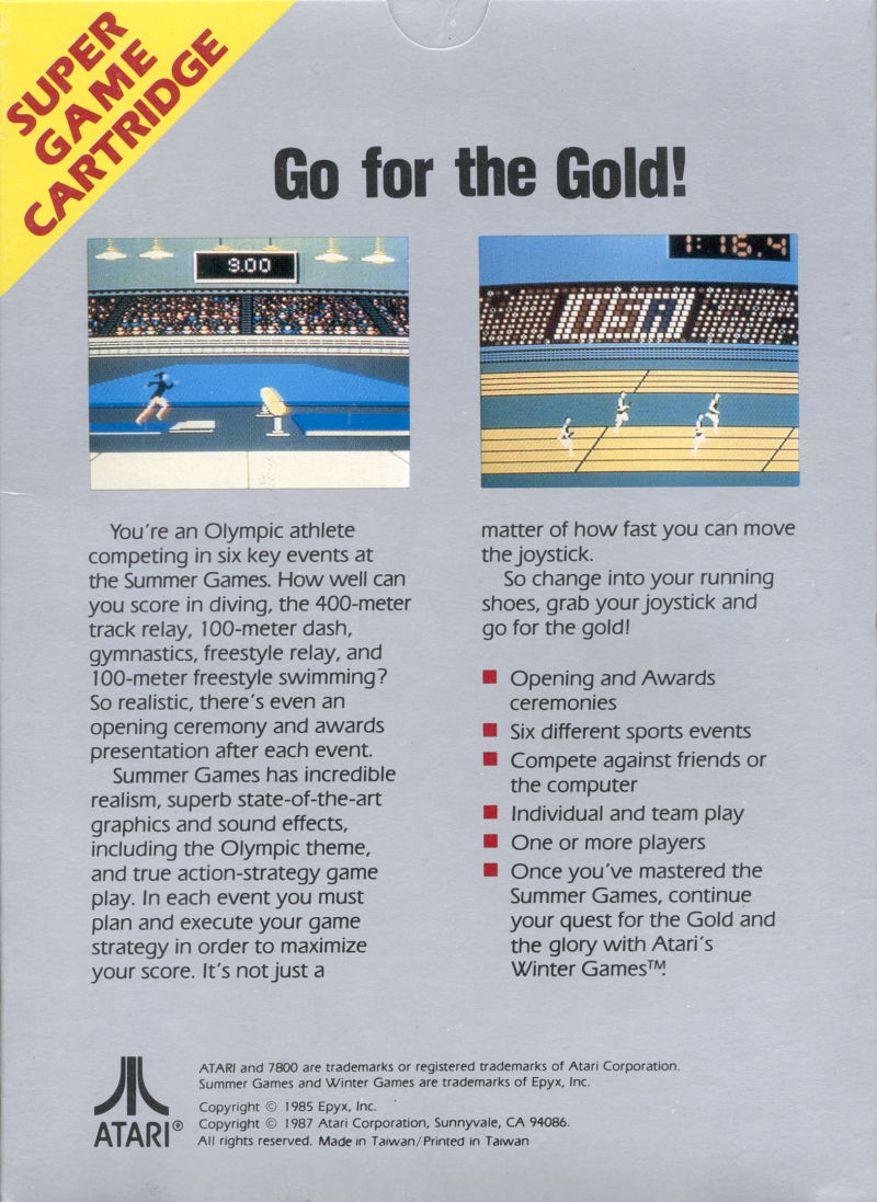Summer Games Atari 7800 Back Cover