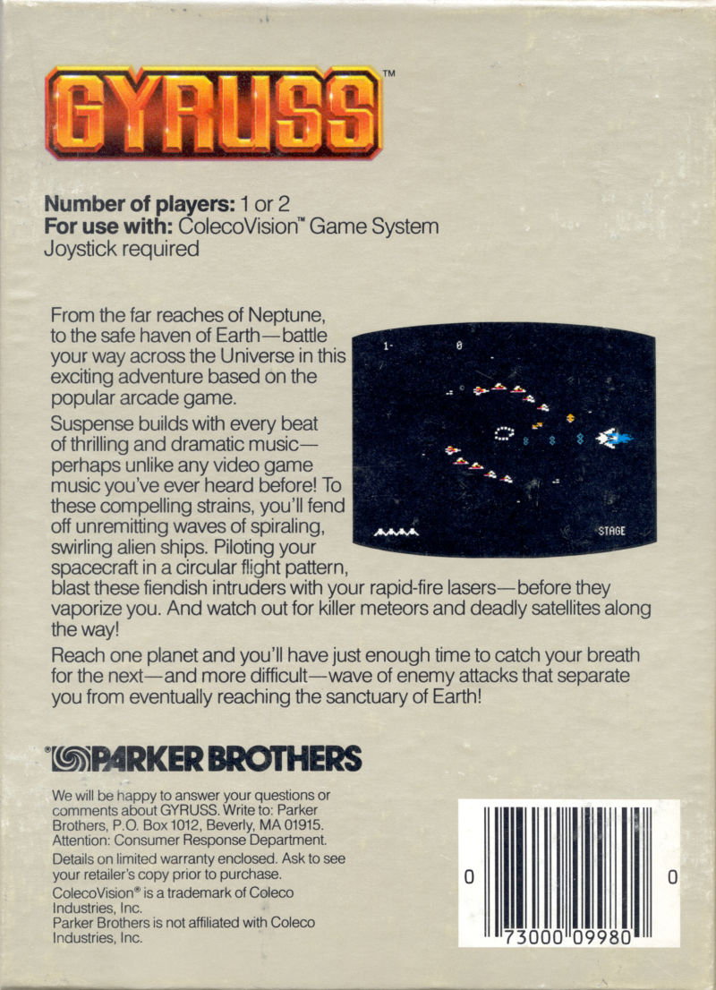 Gyruss ColecoVision Back Cover