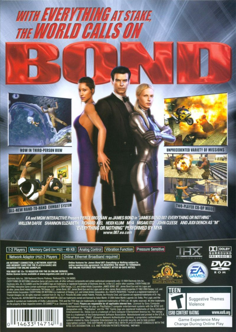 007: Everything or Nothing PlayStation 2 Back Cover