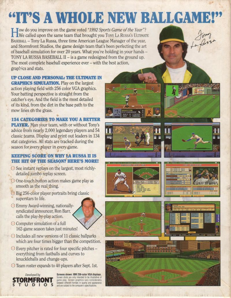 Tony La Russa Baseball II DOS Back Cover