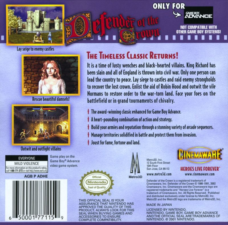 Defender of the Crown Game Boy Advance Back Cover