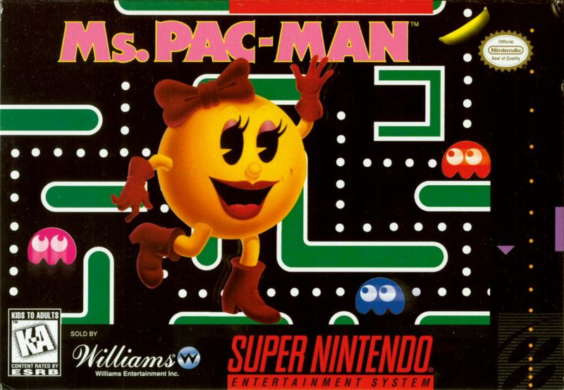 Ms. Pac-Man SNES Front Cover