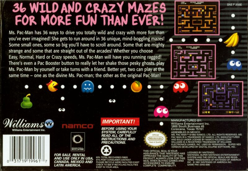 Ms. Pac-Man SNES Back Cover