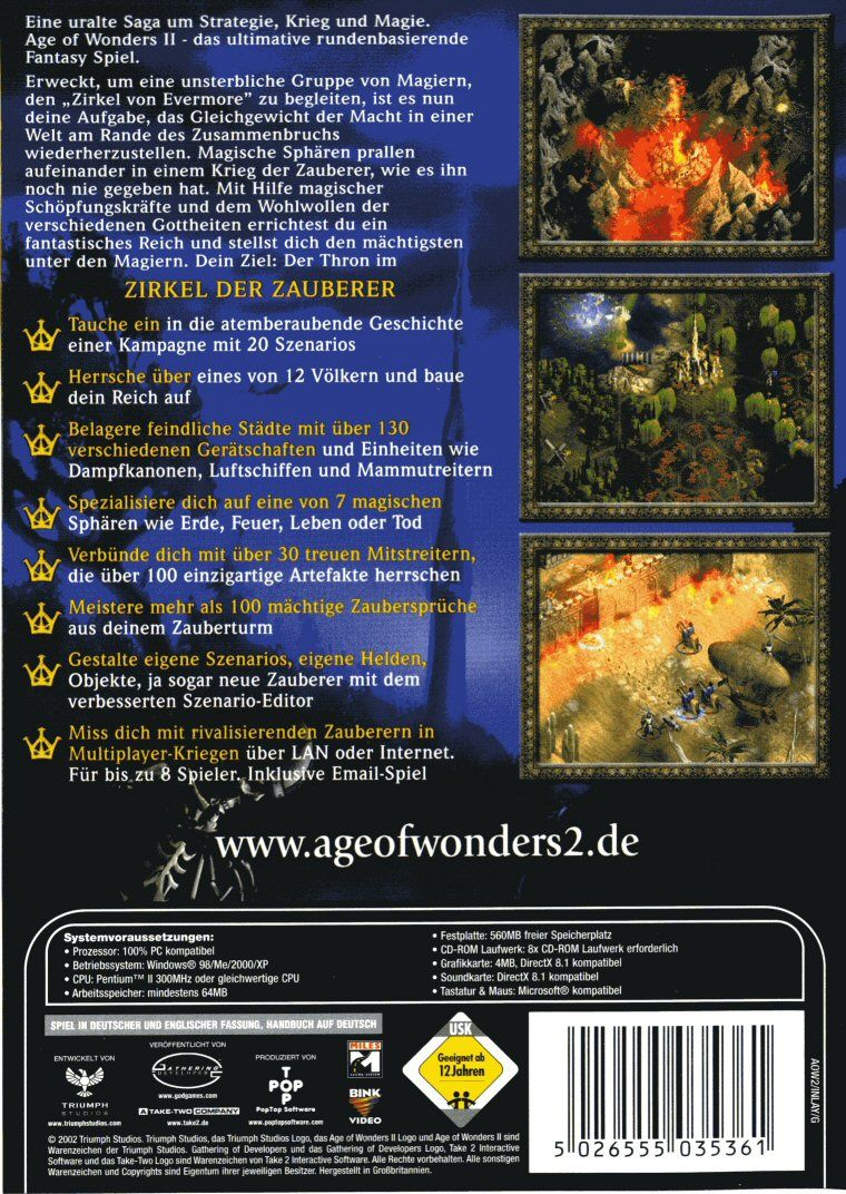 Age of Wonders II: The Wizard's Throne Windows Back Cover