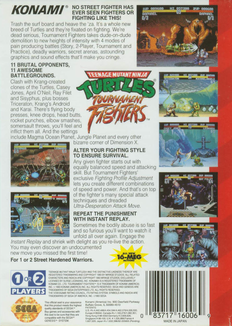 Teenage Mutant Ninja Turtles: Tournament Fighters Genesis Back Cover