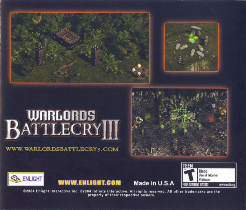 Warlords: Battlecry III Windows Other Jewel Case - Back
