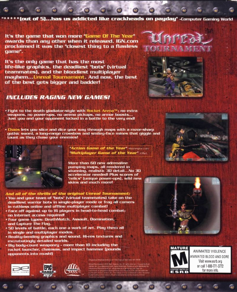 Unreal Tournament: Game of the Year Edition Windows Back Cover