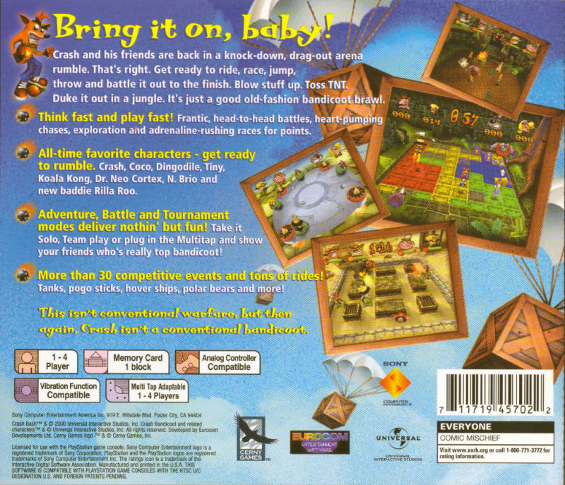 Crash Bash PlayStation Back Cover