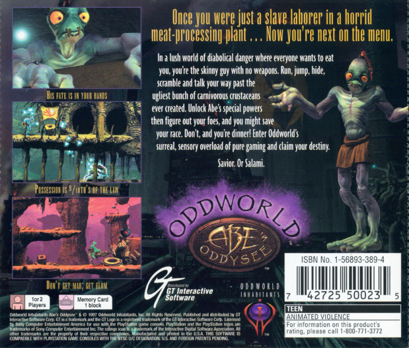 Oddworld: Abe's Oddysee PlayStation Back Cover