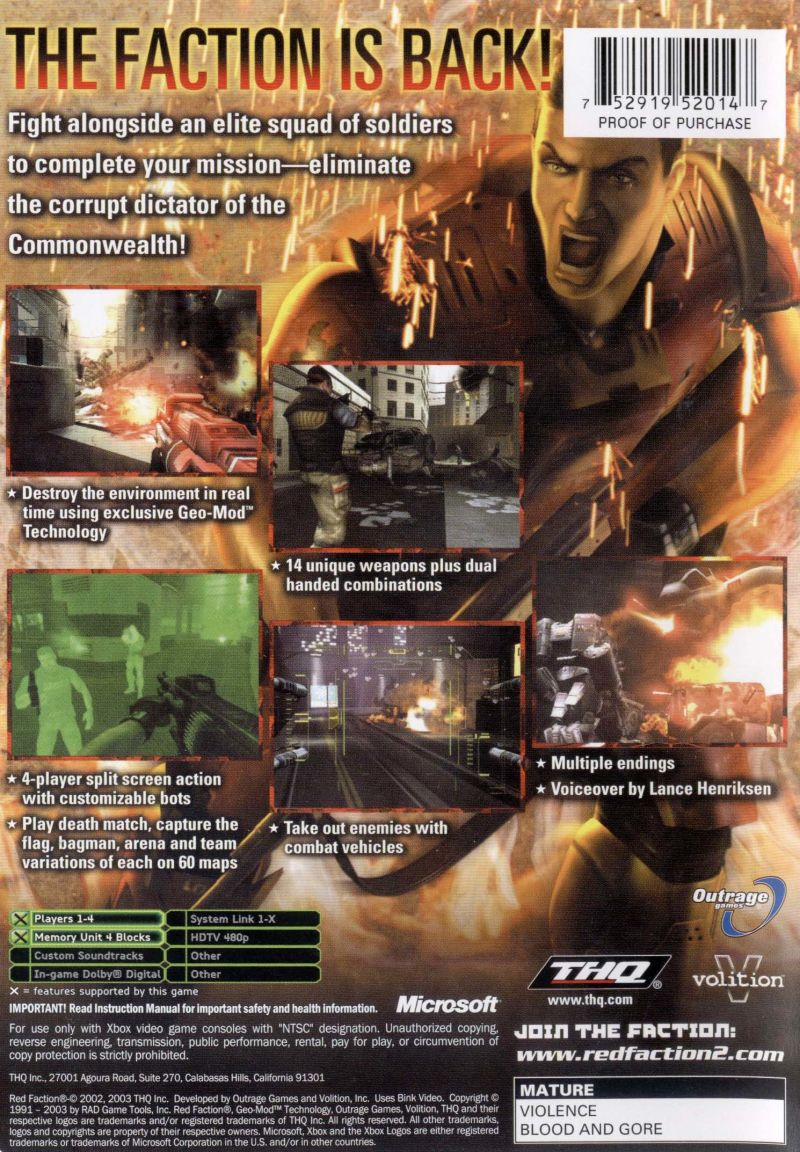 Red Faction II Xbox Back Cover