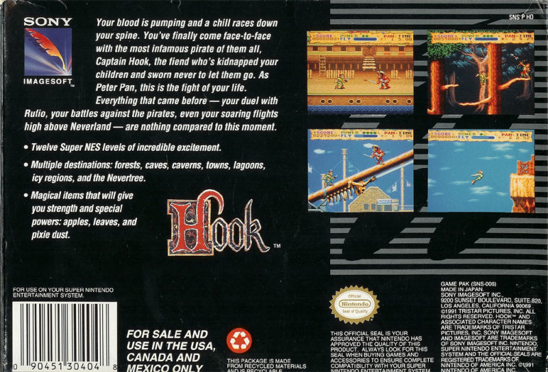 Hook SNES Back Cover