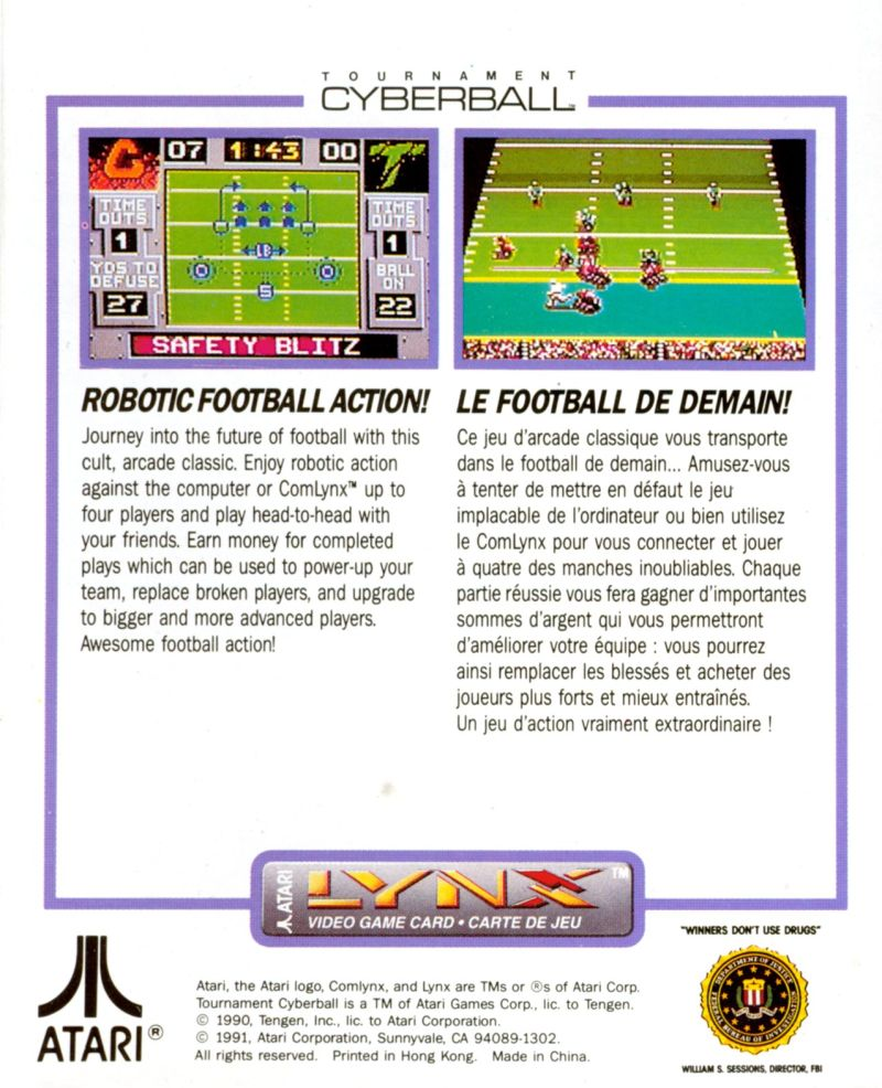 Cyberball Lynx Back Cover