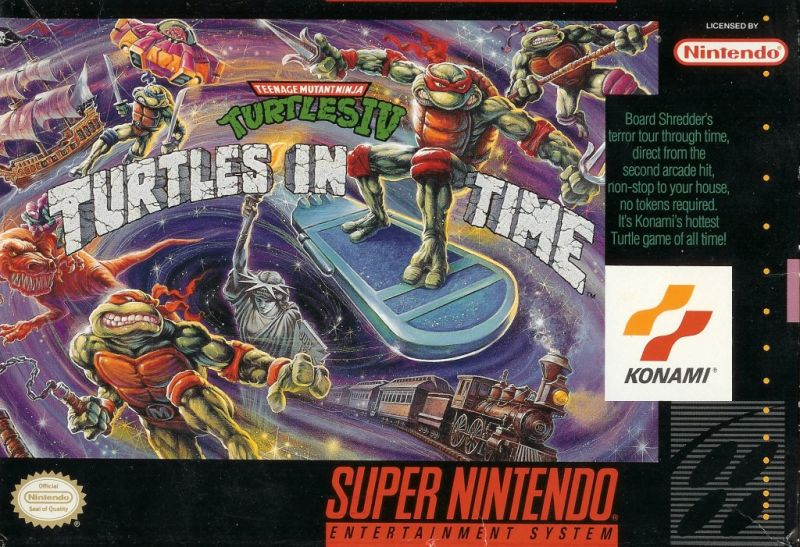 Teenage Mutant Ninja Turtles IV: Turtles in Time (1992) SNES cover art -