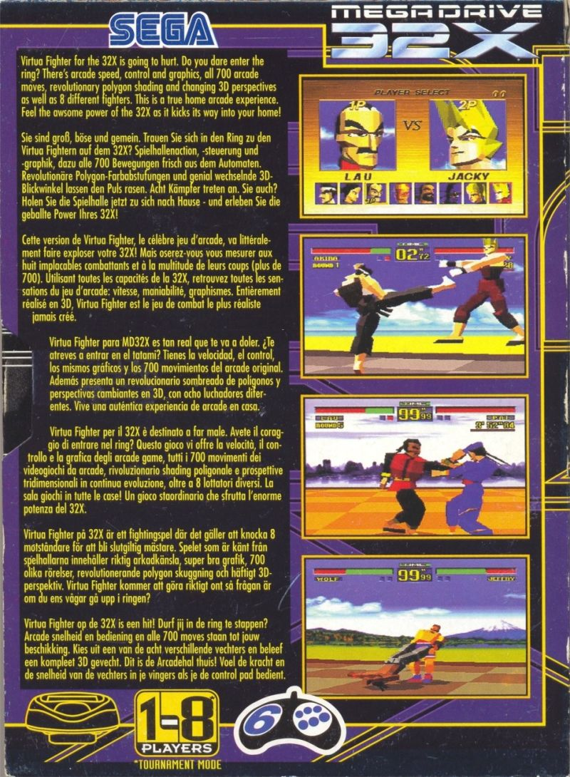 Virtua Fighter SEGA 32X Back Cover