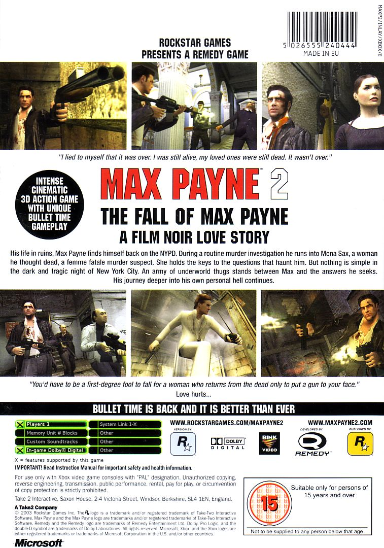 Max Payne 2: The Fall of Max Payne Xbox Back Cover