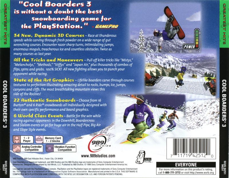Cool Boarders 3 PlayStation Back Cover