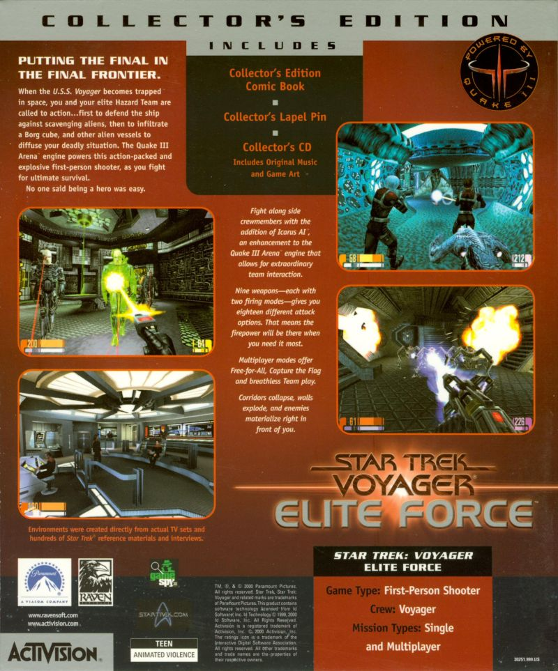 Star Trek: Voyager - Elite Force (Collector's Edition) Windows Back Cover Outer Sleeve