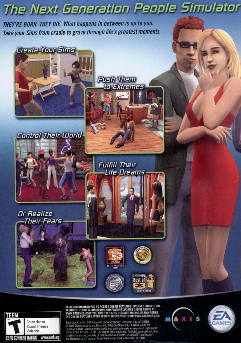 The Sims 2 Windows Back Cover