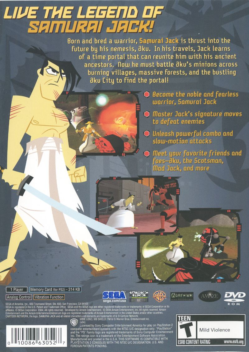 Samurai Jack: The Shadow of Aku PlayStation 2 Back Cover
