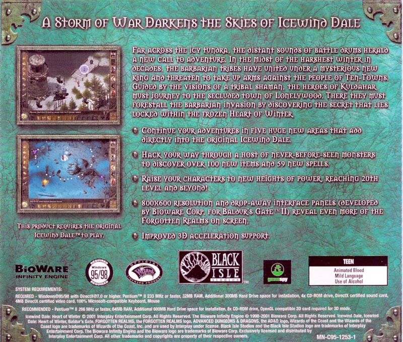 Icewind Dale: Heart of Winter Windows Other Jewel Case - Back