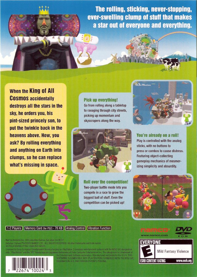Katamari Damacy PlayStation 2 Back Cover