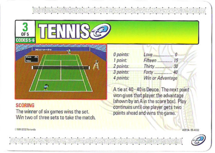 Tennis Game Boy Advance Media e-Card 3