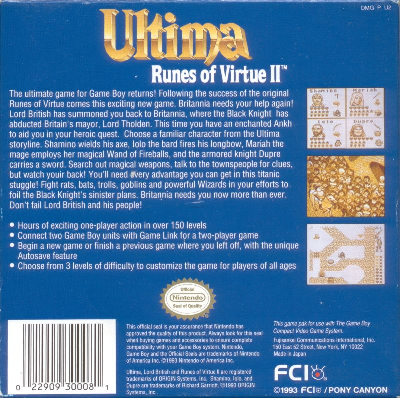 Ultima: Runes of Virtue II Game Boy Back Cover