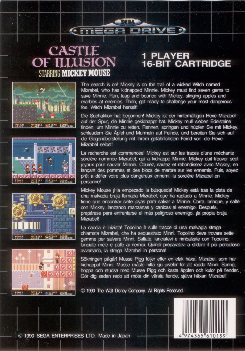 Castle of Illusion starring Mickey Mouse Genesis Back Cover