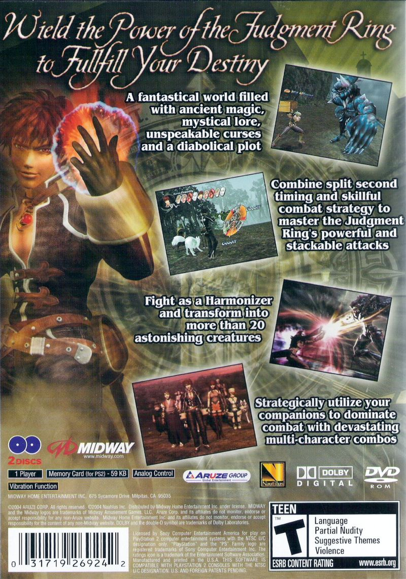 Shadow Hearts: Covenant PlayStation 2 Back Cover