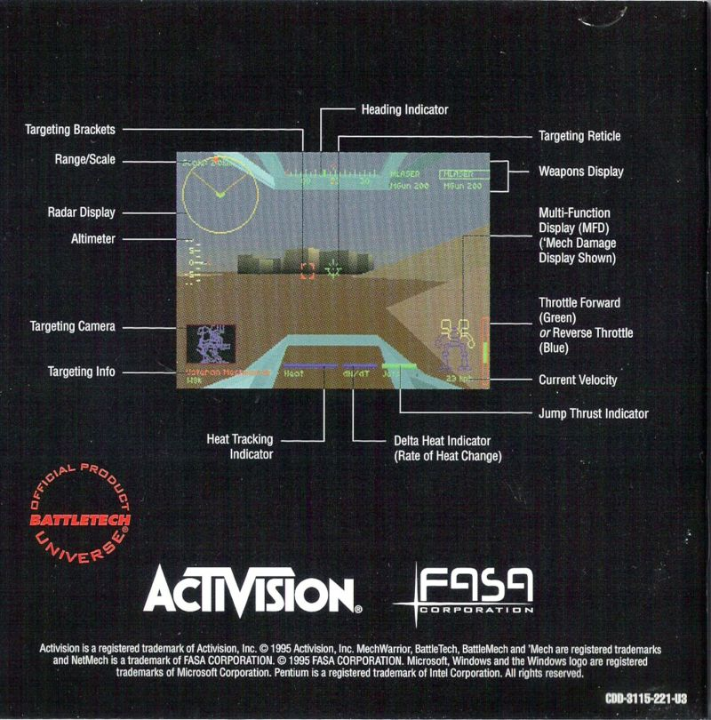 MechWarrior 2: 31st Century Combat Windows Other Jewel Case - Inlay