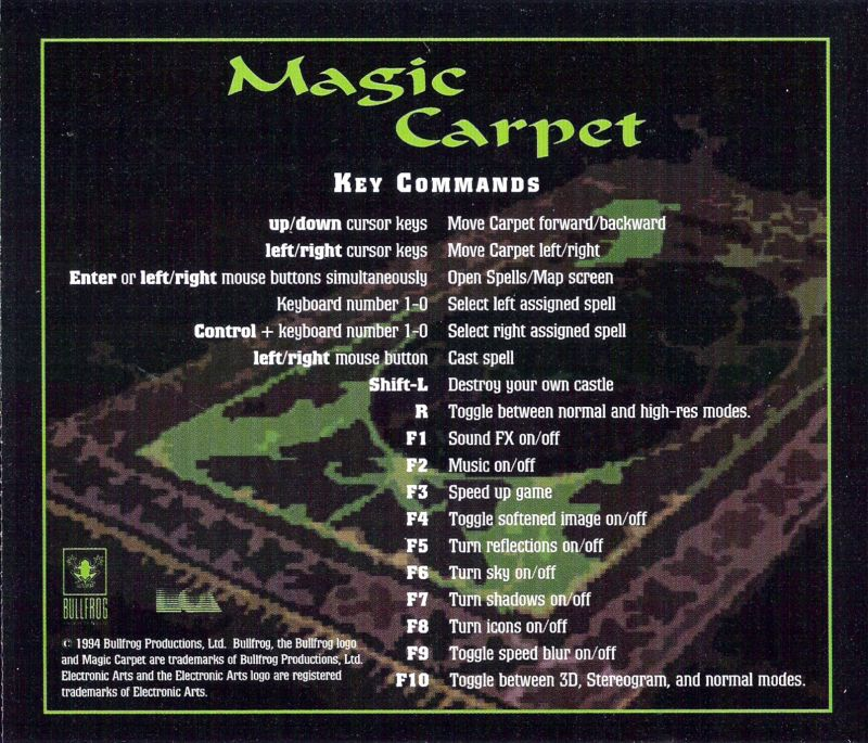 Magic Carpet DOS Other Jewel Case - Back