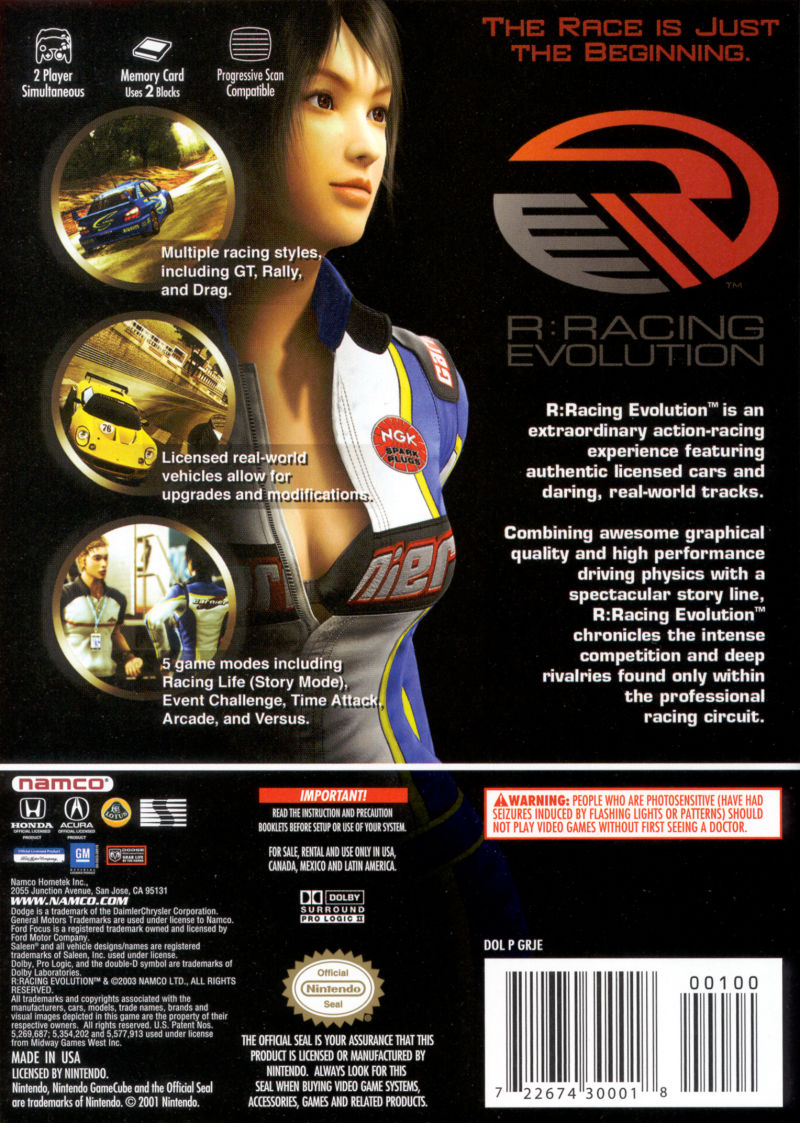 R:Racing Evolution GameCube Back Cover