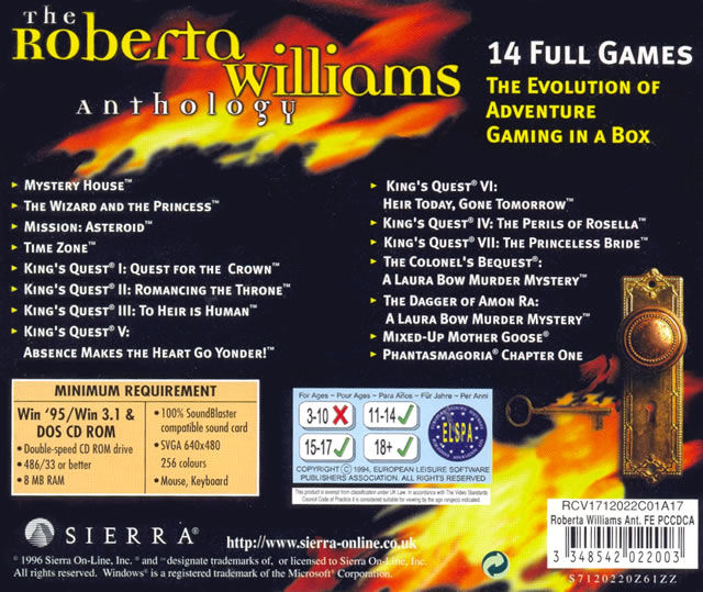 The Roberta Williams Anthology DOS Other Jewel Case - Back